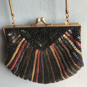 Vintage Art Deco Beaded Ed B Robinson Purse Brown
